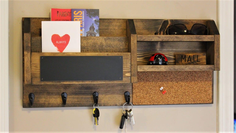 home office mail organizer rustic organizer key holder. Black Bedroom Furniture Sets. Home Design Ideas