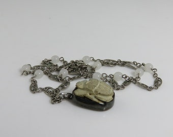 Antique Egyptian Revival Sterling Scarab Beetle Pendant Necklace.
