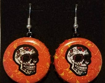Skull bottlecap earrings