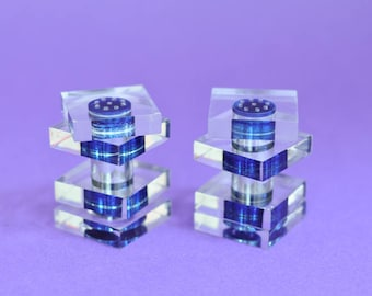 Salt Pepper Shakers in Blue and Clear Lucite