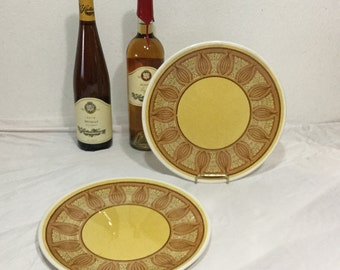 Taylor Smith Atomic Onion Honey Gold Dinner Plates set of 2  Mid Century