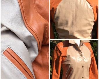 Vintage leather M ladies jacket, orange and beige leather, casual leather wear.