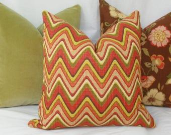 Orange green chevron pillow cover. 18x18 20x20 22x22 24x24 26x26 Euro sham orange Lumbar pillow 12x20 12x24 14x24 14x26 16x24 16x26