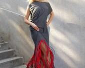 ON SALE 25% OFF Grey Maxi Dress / Fringe Grey Dress / Bohemian Fringe Dress Tdk127