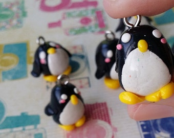 cute polymer clay miniature penguin charm