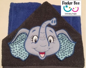 "Super sweet Elephant 3D Towel Peeker Embroidery Applique Design. 5x7"" hoop. This is a design file only not a ready made towel."