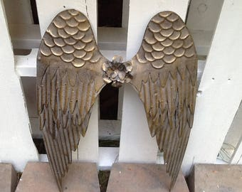Large Angel Wings / Gold Distressed Angel Wings / Large Metal Angel Wings