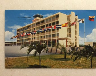 Vintage Postcard Puerto Rico San Juan International Airport at Isla Verde 1956