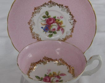 GROSVENOR ENGLISH CHINA cup and saucer.  Pink and Floral with Gold Trim*