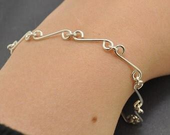 Handmade links bracelet, Sterling silver, Bar Bracelet, Silver Bracelet