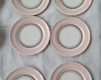 Lot of 6 American Limoges Candle Light Federal Coral Bread And Butter Plates Fine China