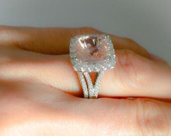 Diamond Engagement Ring Set 3.45ct Cushion Cut Morganite Ring 2.05ct Natural Diamonds Wedding Ring Unique Halo Ring Pristine Custom Rings