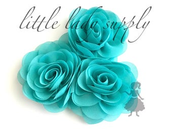 WHOLESALE 10 Aqua Rose Blossoms headband flowers bulk fabric flowers bulk  wholesale, headbands, hair clips