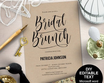 Bridal brunch invitation, bridal brunch shower invitation, bridal brunch invites, printable bridal shower, DIY, printable, Modern
