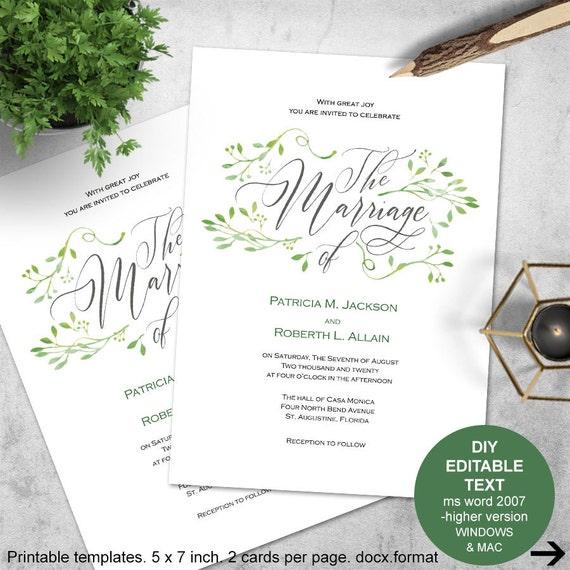 greenery invitations greenery wedding printable invitation. Black Bedroom Furniture Sets. Home Design Ideas