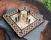 "Hnefatafl Game: ""Mini"" hand-held version (5.5"" square), Irish Bran Dubh variant of Tafl, handcrafted & customizable - MADE TO ORDER"