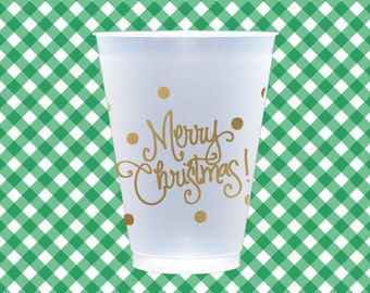 Merry Christmas Cups (reusable) - Qty 12
