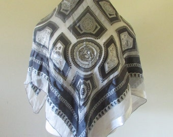 Renato scarf, Italian scarf, Renato Balestra vintage silk scarf, blue grey renato scarf, silk scarf, vintage blue cream scarf freeshipping.