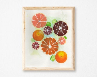 Citrus Print Citrus Fruit Print Watercolor Orange Print Oranges Print Watercolor Fruit