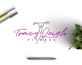 Fitness logo, Trainer logo, Barbell logo (pre made)