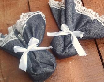 Jean and Lace Favors- Cotton Favour Bag - Denim Favor Bag - Wedding Favor - Country Wedding Favors - Western Wedding Favor Bag - Set of 36