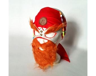 Mask with Beard for Viking, pirate, king, Rocker, red beard