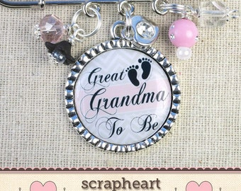 PERSONALIZED Great Grandma Nana Aunt Mom To Be Pin, Cute Pink Gray Chevron Baby Shower Pins Favors, Mom To Be Corsage Pins, Shower Favors