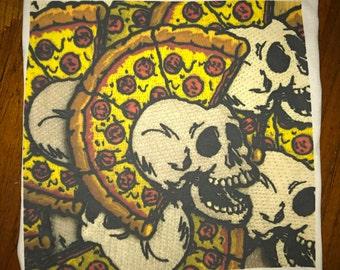 "Large 15""x15"" Pizza Punx 100% cotton fabric patch"