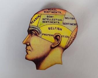 Phrenological Head Selfish Propensities Woodcut Needle Knack