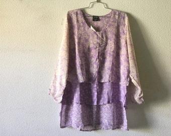 Vintage Blouse - Loose Layered Top Sheer Purple Floral