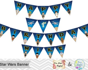 Printable Star Wars Bunting, Printable Star Wars Banner, Star Wars Birthday Party Banner, Instant Download Star Wars Party Bunting 0174