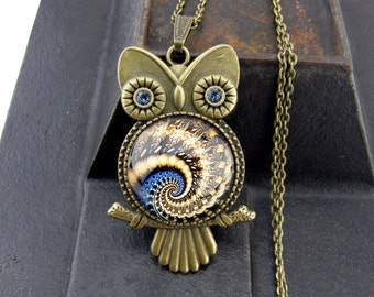 Owl Necklace, Vintage Style Necklace, Bronze, Steampunk Jewelry, Blue, Fractal Necklace, Swirl, Sacred Geometry, Fibonacci, Spiral