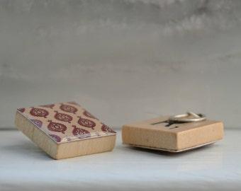 Repurposed Scrabble Tile Earrings - Medallion/Pomegranate