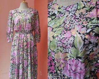 Floral Dress Womens Summer Dress 80s Dress 1980s Dress Day Dress Sundress Tea Dress Reto Dress Boho Dress Cotton Dress With Sleeves Midi