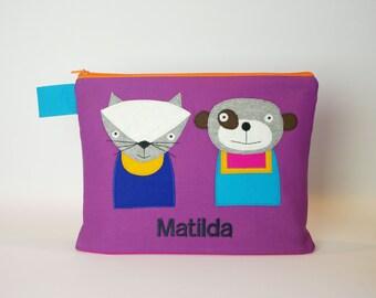"""Diaper bag/cosmetic bag """"Cat and bear"""""""