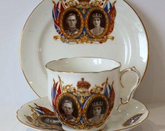 Royal Commemerative Trio Kind George & Queen  Elizabeth Coronation c1937