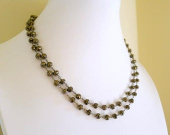 Pyrite Beaded Rosary Necklace, Double Wrap Rosary Necklace, Pyrite Wire Wrapped Beaded Necklace, Long Rosary Chain Necklace, Beaded Wrap