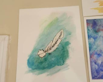 Original feather watercolor