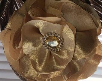 Satin Golden Flower Pin