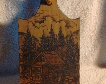 Cottage wood burning into cutting board, wood burning art, cottage , rustic