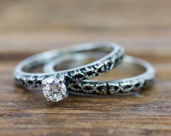 Vintage 14k White Gold Oxidized .18 ct Diamond Engagement Ring and Wedding Band Matching Set
