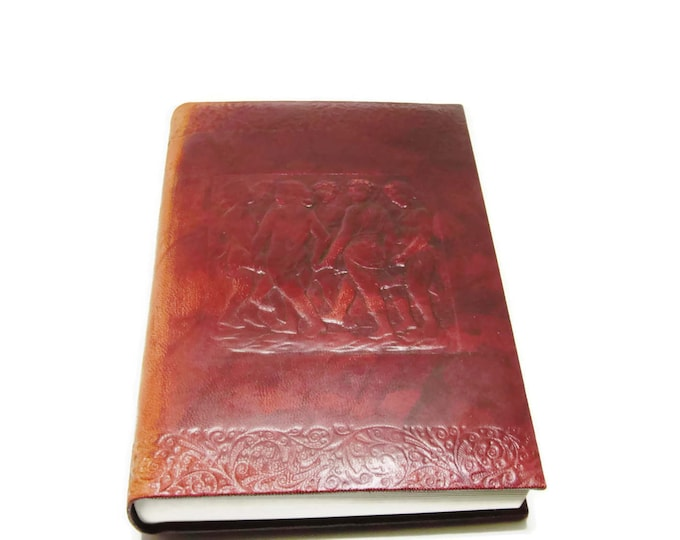 Vintage Leather Blank Journal | Tooled Mahogany Dyed Leather Diary | Sketch or Notebook Book | Made in Italy Unique Gift Christmas Gift