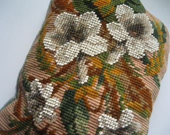 REDUCED - Victorian Seed Beading and Tapestry Small Cushion backed with Velvet