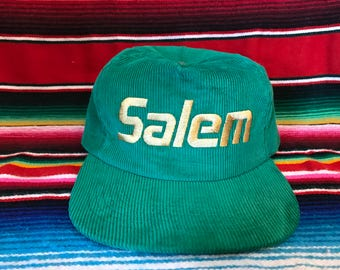 VTG Salem Cigarettes Kelly Green Corduroy Snapback hat