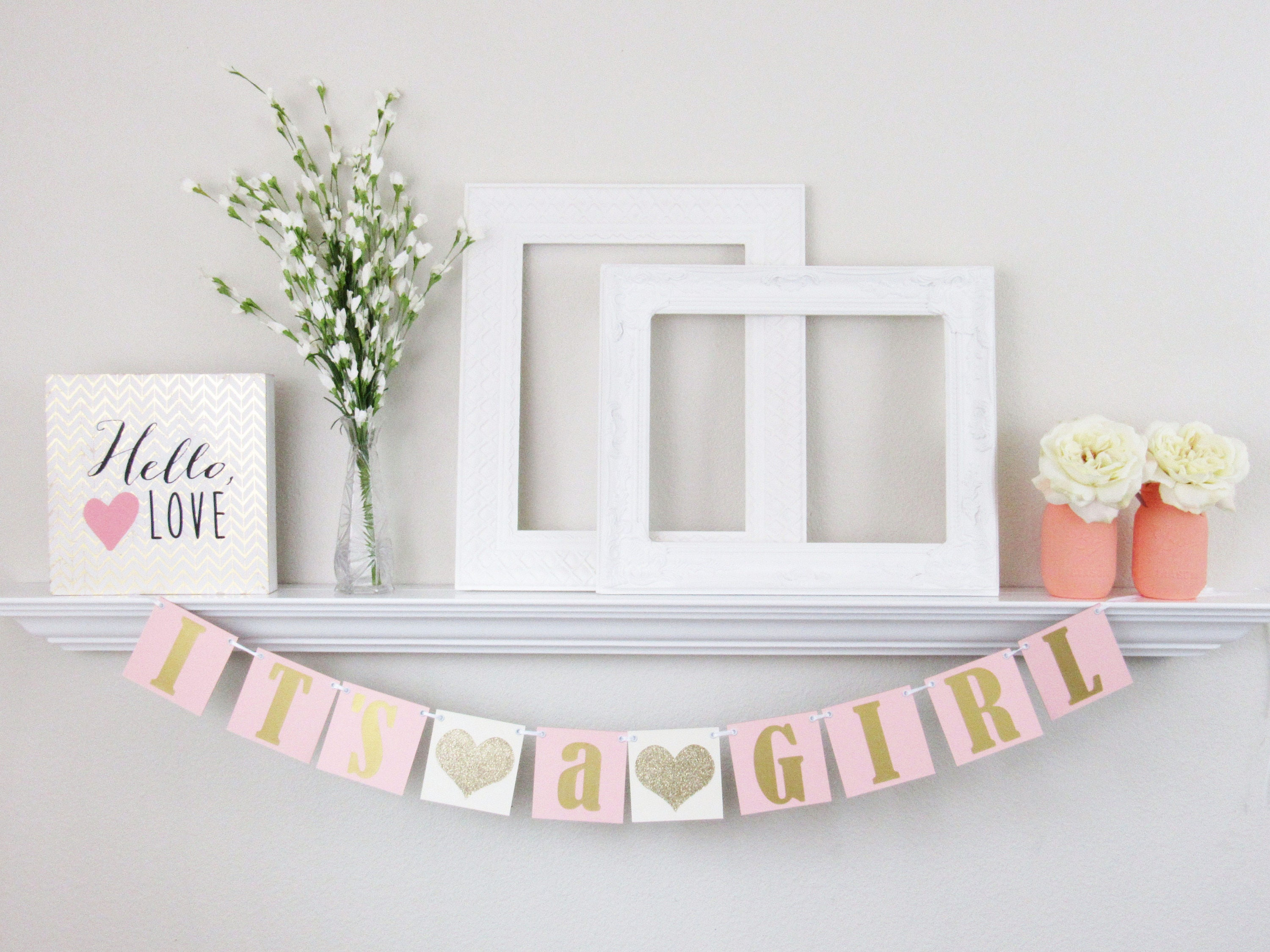 It s a Girl Banner Baby Shower Bunting Ivory and Pink