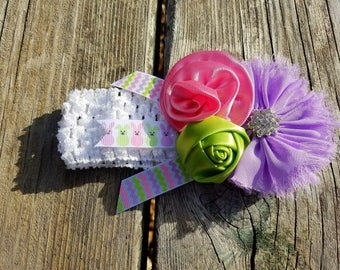 Hair Accessory, Girls Accessory, Photo Prop, Spring Flower, Flower Girl, Lime/Purple Flowers, Girls Headband, Flower Headband, Hair Flower