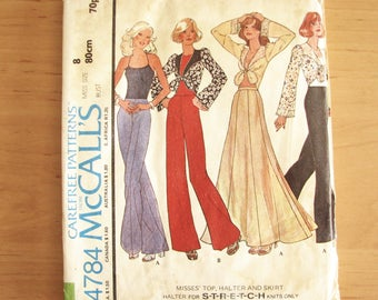 1970s vintage pattern, McCalls 4784 pattern, top, skirt and bolero jacket, size 8 bust 80cm, uncut
