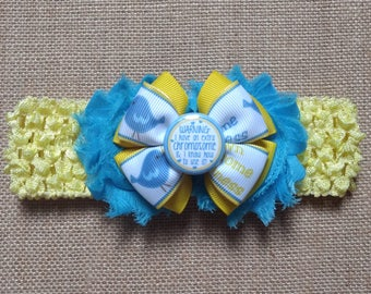 Down Syndrome Headband, Yellow Headband, Shabby Headband, Baby Headband, Baby Hair Accessory, Baby Girl Headband, Downs Awareness Bow