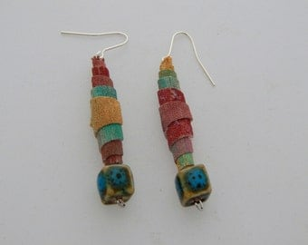 Ragpicker Earrings - Handpainted Textile - One of a kind - Featured in Jewelry Affaire Magazine