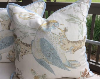 Lee Jofa Pillow Cover in Blue and Gold Somerfield Parrot Patterned Linen with Linen Backing